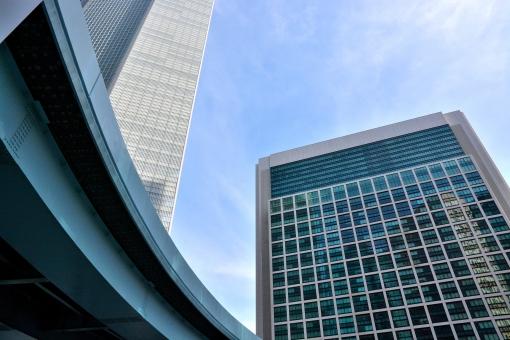 オフィスビル オフィス ビル 高層 高速 首都高 ビジネス 空 青空 青 東京 TOKYO 職場 事務所 仕事 高い 都会 スペース 賃貸 高層ビル オフィス街 町並み 近代的