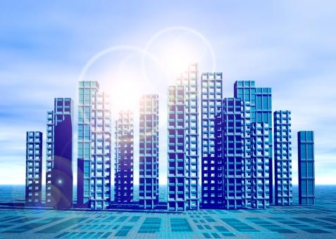 未来 近未来 ビジネス building ビルディング 高層ビル 未来都市 近未来都市 都市 都会 オフィスビル CG 将来 発展 光 逆光 future 青 ブルー blue テクノロジー IT オフィス 企業 国際的 グローバル global 経済 起業 会社
