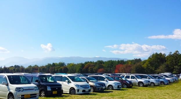 車 くるま クルマ ドライブ 空 雲 くも 青 タイヤ どらいぶ 運転 停める 公園 コピー スペース コメント 軽自動車 木 森