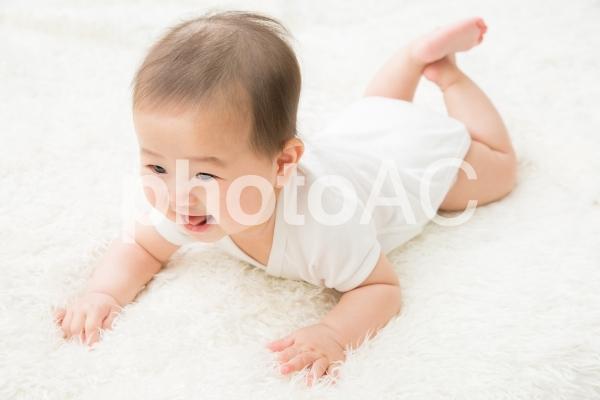 ハイハイする赤ちゃん(笑顔)の写真