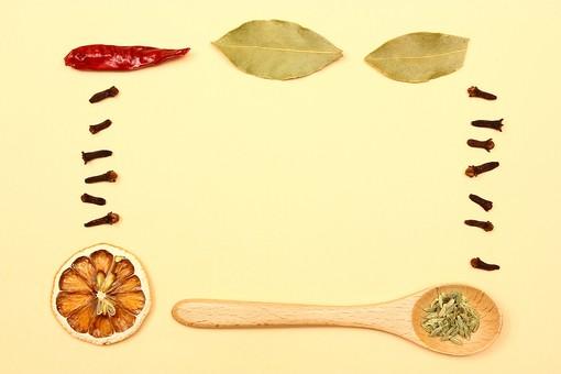 スパイス ハーブ フェンネル フェンネルシード 種 実 レッドチリ 鷹の爪 赤唐辛子 唐辛子 とうがらし トウガラシ オレンジ ローリエ 月桂樹 月桂樹の葉 スプーン グローブ 調味料 香辛料 香料 食べ物 食材 乾燥 フレーム 余白 コピースペース テキストスペース 背景 背景素材 バックグラウンド 枠 囲み枠 キッチン 赤 緑 橙 カラフル シンプル 自然 植物 黄 並べる