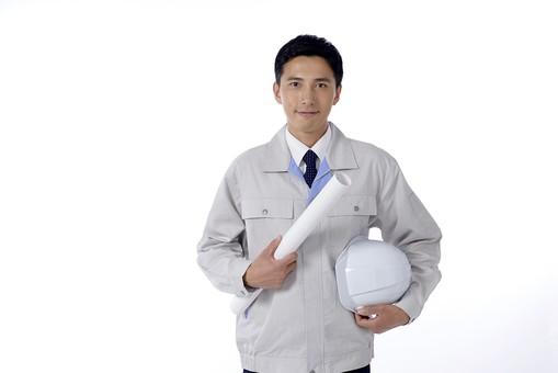 日本人 男性 おとこ 青年 社員 職員 ビジネスマン 仕事 労働 業務 ビジネス ワーク 会社 職場 営業 事務 作業 制服 上半身 ヘルメット 書類 図面 持つ 携える 身だしなみ 設計 点検 検査 保守 監督 担当 防護 安全 安心 派遣 現場 白バック 白背景 mdjm001