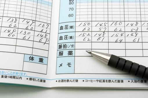 血圧 記録 血圧の記録 血圧手帳 手帳 測定 日々の記録 血圧計 高血圧 医療 病院 自宅 老化 ストレス 高塩分 動脈硬化 生活習慣病 健康 健康維持