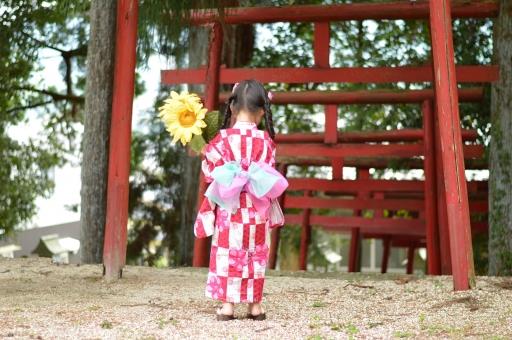 浴衣 女の子 子供 子ども こども 夏 夏祭り 神社 ひまわり 後ろ姿 日本 yukata mdfk023