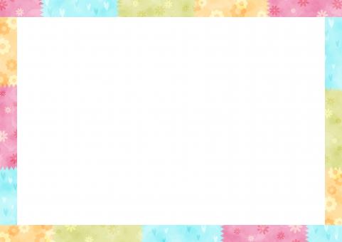 背景 背景素材 テクスチャ フレーム 枠 縁 余白 テキストスペース かわいい 可愛い 子供 子ども こども 白 花 ハート カラフル ポップ マスキングテープ
