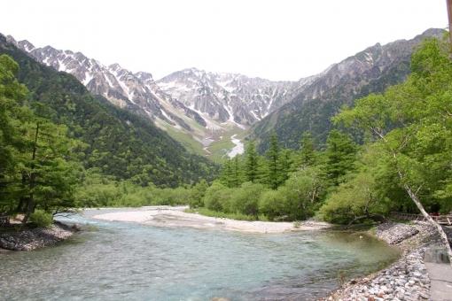 山と川 穂高 梓川 新緑 水量豊か