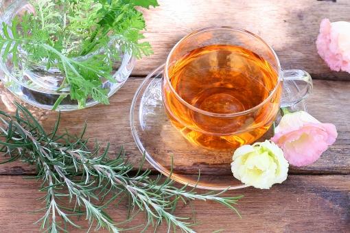 お茶 休憩 休けい 紅茶 ハーブティー トルコキキョウ トルコ桔梗 花 ローズマリー ラベンダー ゼラニウム
