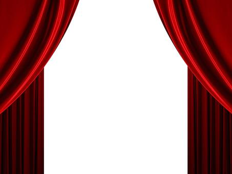 背景 フレーム バックグラウンド 素材 真紅 赤 カーテン ビロード 洋風 ドレープ 布 額 コマ 枠組み ひな型 垂らす 重なる デザイン グラフィック イラスト 加工 CG 幕 窓 舞台 両端 対称 白 開ける