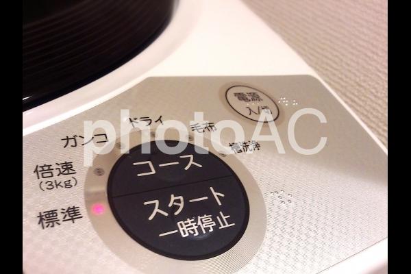 洗濯機のスイッチボタンの写真