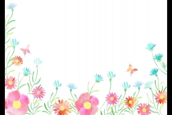 水彩花_フレーム_psdの写真