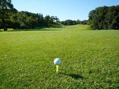 ゴルフ ゴルフ場 芝生 コンペ ゴルフコンペ 横位置 癒やし 秋のゴルフ場 快晴 ティショット ゴルフボール 天然芝