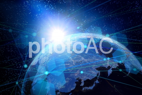 地球とネットワークイメージ背景素材の写真