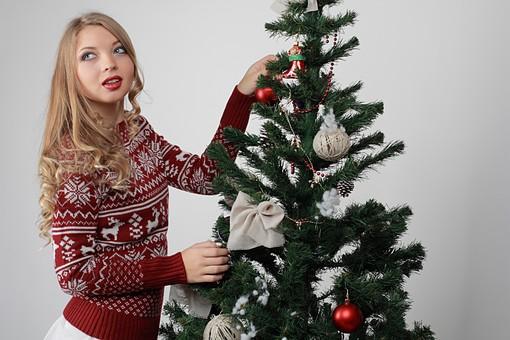 白バック 白背景 グレーバック 外国人 白人 金髪 ブロンド 20代 30代 女性 セーター ニット ノルディック柄 スカート クリスマス Christmas X'mas クリスマスツリー ツリー モミ もみの木 樅の木 モミの木 飾り オーナメント ボール リボン ブーツ 松ぼっくり 立つ 飾り付ける 触る 取る 上半身 mdff129