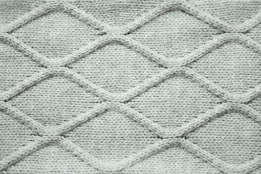 ニット 編み物 編地 アランニット グレー 冬 毛糸 編み目 ウール 模様 背景 ファッション 衣服