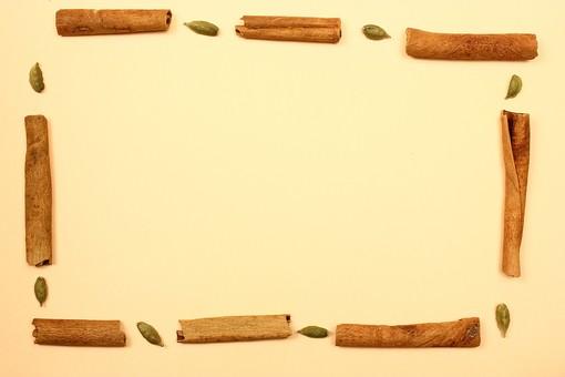 スパイス ハーブ カルダモン グリーンカルダモン シナモン シナモンスティック 調味料 香辛料 香料 食べ物 食材 乾燥 フレーム 余白 コピースペース テキストスペース 背景 背景素材 バックグラウンド 茶色 並べる 植物 シンプル 枠 囲み枠 自然 緑 交互