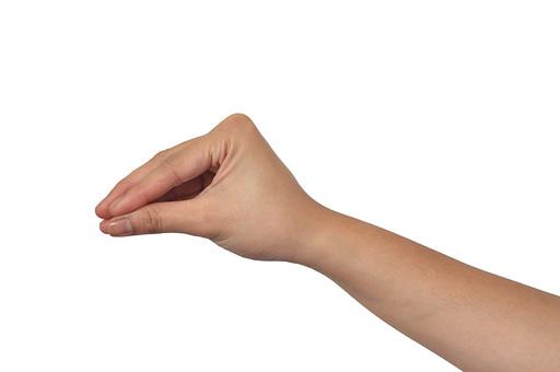 人物 背景 白 白背景 白バック 切り抜き パーツ ボディパーツ 腕 片手 ポイント 指 手首 ジェスチャー 身ぶり 肌 余白  シンプル ハンドパーツ 右手 摘む 掴む 置く 手ぶり 三角 人の手