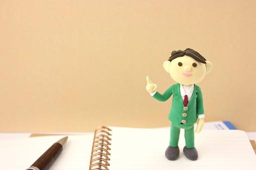 クレイ クレイアート クレイドール ねんど 粘土 クラフト 人形 アート 立体イラスト 粘土作品 人物 ビジネスマン ビジネス 働く人 サラリーマン 仕事 ノート ペン オフィス ビジネスイメージ