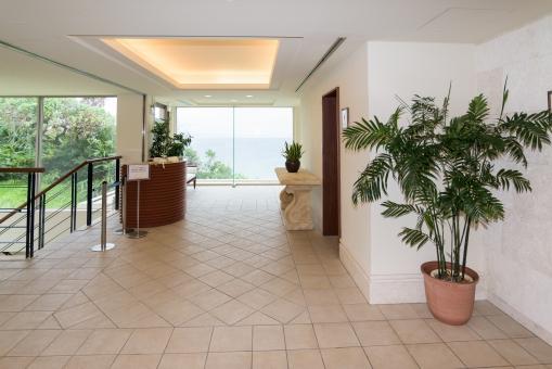 エントランス 階段 植木 ロビー 南国 大理石 きれい 屋内 タイル トロピカル 南国 ホテル リゾート ガラス 沖縄 高級 旅行