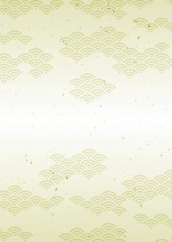 青海波・波模様(和風背景画)冠婚葬祭・金色・縦長の写真