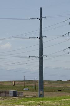 青空 空 お空 大空 晴天 晴れ 快晴 青色 青い 青天井 蒼穹 蒼天  爽やか 爽快 さっぱりした 健康的 電柱 電信柱 電気 電線 送電 送電線 ブルースカイ 伝送線 ケーブル 緑 グリーン