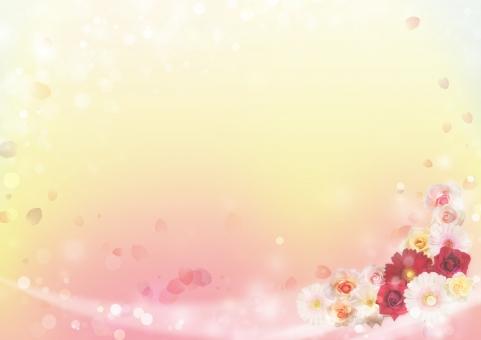 花 背景 コーナー 角 フレーム 枠 飾り枠 囲み枠 花びら フラワー 植物 装飾 女性的 お祝い イベント ウェディング 結婚式 ウェルカムボード 感謝 メッセージカード バックグラウンド バック 春 バラ ガーベラ 花びら ボケ 光 ふんわり 抽象