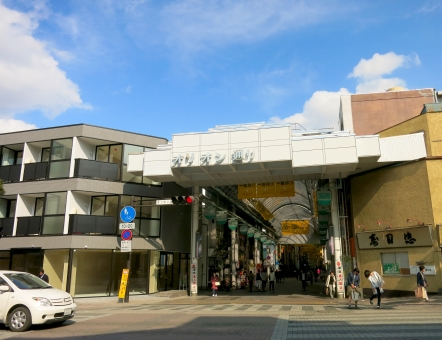 16 アーケード 買物 車道 歩道 ショッピング ビル 商店街 シャッター 宇都宮 栃木県 晴天 青空 繁華街