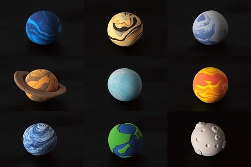 クレイ クレイアート ねんど 粘土 クラフト 立体 イラスト スタジオ撮影 素材 宇宙 天体 星 惑星 太陽系 公転 回転 科学 天文 海王星 木星 冥王星 土星 天王星 金星 水星 地球 月 黒バック 黒背景