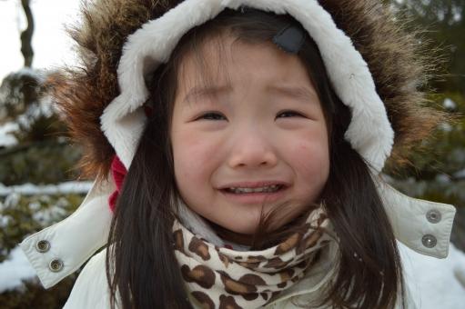 泣く 泣き顔 子供 女の子 2歳 冬 2月 悲しい