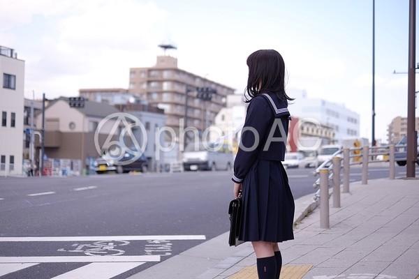 信号を待つ女子高生の写真