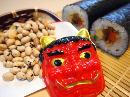 節分 鬼 恵方巻き 太巻き 豆撒き 豆まき 鬼は外 福は内 2月 2月3日 伝統行事 伝統 恵方巻 巻き寿司 恵方 丸かぶり