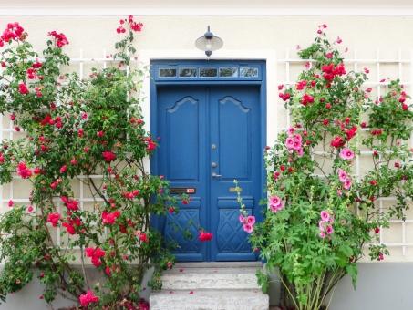 ドア 扉 入口 エントランス 玄関 家 マイホーム 住宅 住居 住まい 花 薔薇 バラ ばら タチアオイ 葵 アオイ 白壁 白 青 ランプ 木製 階段 リゾート 海外 外国 ヨーロッパ スウェーデン 北欧 街並み