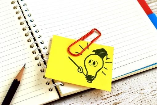 ビジネス 仕事 メモ ノート 書く 成功 教育 勉強 学習 学校 文具 鉛筆 思考 文房具 クリップ 付箋 電球 アイデア 先生 答え ひらめき 感性 考え 提案 創造 解決 発想 思いつき チャンス 成績 企画 実績 コンペ 能力 博士 クリエイティブ 着眼 思想 創造力 勘