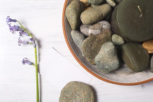 自然 ナチュラル 石 ストーン 丸い 岩石 砂利 小石 ろうそく ロウソク キャンドル 蝋 綿糸 芯 灯り ローソク 気化 燃焼 炎 花 一輪 植物 お花 紫色 緑 グリーン 真っ白 切花