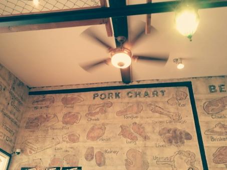 壁 壁紙 照明 カフェ 肉 イラスト ヴィンテージ 部位 豚肉 ポーク フェンス 室内 店内 カントリー 西部劇 アメリカン スタイル
