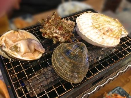 魚貝 魚介類 魚貝類 魚介 貝 貝類 海鮮 海鮮料理 魚貝料理 魚介料理 浜焼き 網焼き 焼き物 和食 日本食 日本料理 食べ物 食材 料理 調理 グルメ ほたて ホタテ 帆立 さざえ 栄螺 サザエ はまぐり ハマグリ 蛤