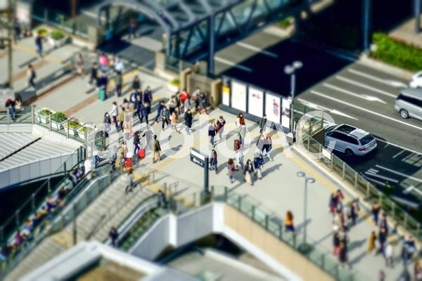 ミニチュア風 大阪の街並みの写真