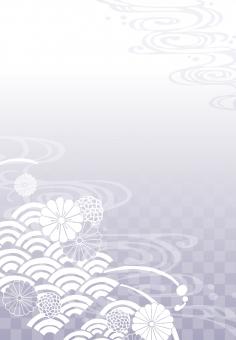 そげ soge 青海波文様 青海波 せいがいは 模様 紋様 文様 和柄 和模様 和紋様 和文様 地紋 和紋 波模様 着物 海 河 川 川面 水 水面 波 線 流水 流水紋 菊 菊模様 菊紋様 菊文様 菊紋 菊柄 花 花模様 花文様 花紋 花紋様 組紐 くみひも 組み紐 組みひも 市松 市松模様 チェック チェッカー 綺麗 きれい キレイ 美しい 風流 雅 飾り 高級 華やか 上品 wave water chrysanthemum pattern beautiful japanese check 和素材 素材 パーツ ごあいさつ ご挨拶 あいさつ 挨拶 グラデーション gradation 縦書き 縦 たてがき たて 長方形 縦向き 縦むき たてむき 紫 薄紫 法要 法事 purple フレーム 背景 枠 飾り枠 和風 和