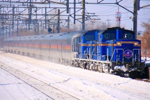 寝台特急 カシオペア 北海道 JR北海道 ディーゼル機関車 DD51 E26系 客車 夜行列車 寝台列車 ブルートレイン 鉄道写真 列車