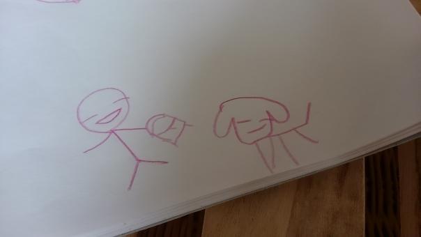 こども 女の子 幼稚園 手描き 子ども 子供 作品 夏 色鉛筆 色えんぴつ 犬 棒人間 スケッチブック 幼稚園児 絵描き お絵描き 絵 子供の絵 子どもの絵