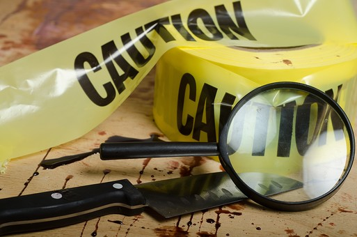 事件 現場 事件現場 犯行現場 殺人  犯罪 暴力 バイオレンス 現場検証 警察  血 血痕 血こん 血の跡 無人  床 証拠 殺人事件 ホラー 凶器 包丁 ナイフ テープ ルーペ 虫眼鏡 サスペンス 残酷 血のり 血糊