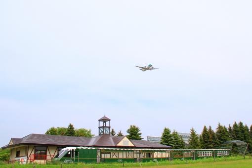 百合が原公園 飛行機 公園 札幌 リリートレイン プロペラ機 上空通過