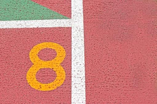 陸上競技場 陸上 8コース 数字 競争 走る トラック レーン コース レンガ色 全天候型 全天候型トラック ライン 汗 青春 部活動 大会 記録 スタート 中体連 高体連 インカレ インターカレッジ オリンピック