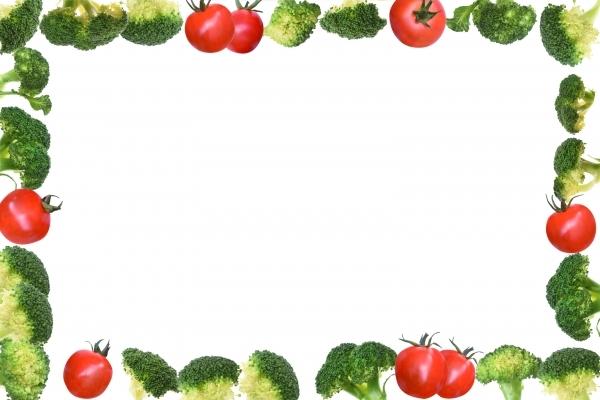 トマトとブロッコリーのフレームpsdの写真