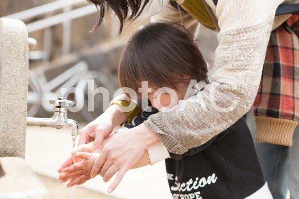 手を洗う子供の写真