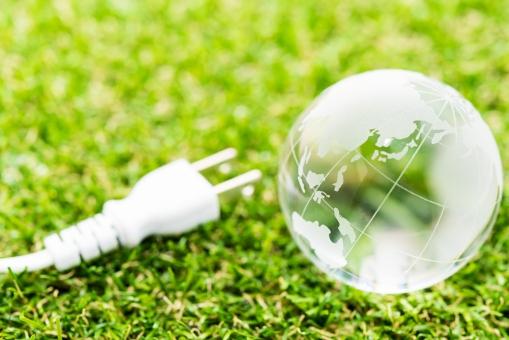 省エネ エコロジー 芝生 クリーン 地球 コンセント 電力 電気代 節約 エレクトリック グリーン クリスタル 地図 マップ 丸い 環境 エネルギー 家計 光熱費 ビジネス 公害