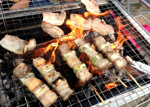 バーベキュー barbecue BBQ B.B.Q. 炭火 直火 肉 ねぎま 豚肉 焼肉料理 グリル 焼き網 アルミ箔 調理器具 料理 火 炎 fire 遠赤外線 串焼き 野外 おいしい うまい 熱い 楽しい 夏 キャンプ場 食べ物 行事 イベント