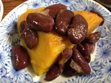かぼちゃの煮物 かぼちゃ カボチャ 南瓜 煮物 和食 おかず 惣菜 家庭菜園 金時豆 ヘルシー 小皿料理