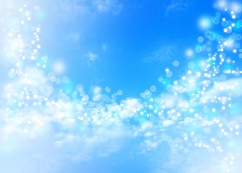 sky キラキラ きらきら ボケ 優しい やさしい 青 ブルー blue 夏 ファンタジー 夢 癒し いやし ヒーリング スピリチュアル dream きれい 美しい beautiful 明るい 背景 背景素材 バック バックグラウンド background 自然 雲 青空 晴れ