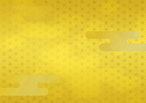 和柄 金屏風 あさのは 麻の葉 伝統 文様 日本 和風 雅 お正月 慶事 お祝い 背景 テクスチャー バックグラウンド 金 ゴールド かすみ 雲 霧