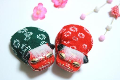 年賀状 獅子舞 正月飾り 和雑貨 梅 素材 ししまいの写真